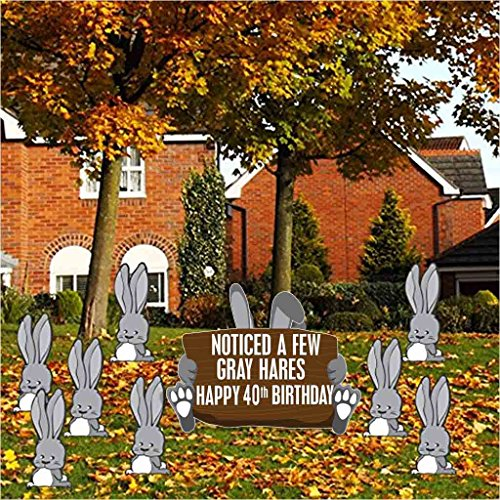 VictoryStore Birthday Yard Decoration, Noticed A Few Gray Hares Happy 40th Birthday, 9pcs, Stakes Inlcluded 12434