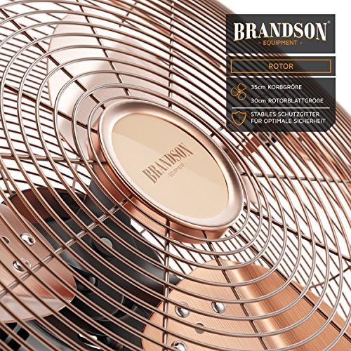 Brandson – Windmaschine Retro Stil | Ventilator in Kupfer | Standventilator 30cm | Tischventilator/Bodenventilator | hoher Luftdurchsatz | robuster Stand | stufenlos neigbarer Ventilatorkopf | Kupfer Bild 4*