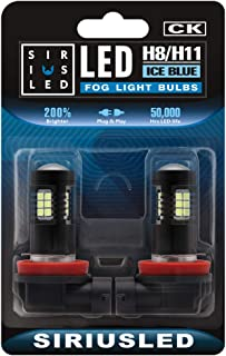 SIRIUSLED Ice Blue H8 H11 LED Fog Light Bulbs DRL Super Bright 2835 26-SMD 12V H16 LED Bulbs Replacement for Cars, Trucks,...