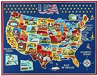 スミソニアンラグ米国地図学習カーペット寝具プレイマット教室装飾ブルーエリアラグ8x10、ネイビー 80x50cm