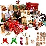 Siundam Fogli di Carta da Regalo Natale, Inclusi 10 Fogli di Carta Natalizia, 20 Metri di spago, 20 Pezzi di Fiocchi Natalizi e 20 Etichette per Confezione Natalizia