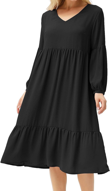 GRACE KARIN Wowen's Long Casual Midi Dress Loose Plain V-Neck Ruffle Dress