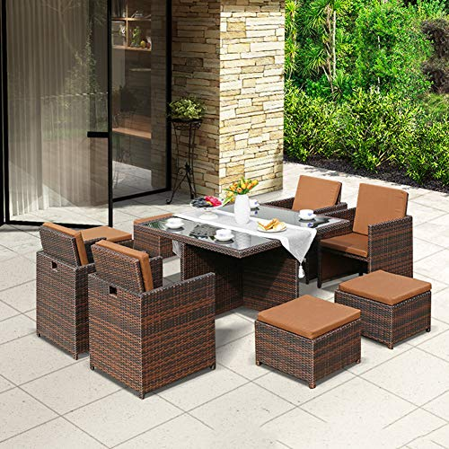 Hmcozy Wicker 9 PCS Patio Furniture Dining set Garden Outdoor Patio Furniture Sets Rattan Outdoor Patio Cube Sets Mixed Brown Rattan & Cushions (9PC SETS),A