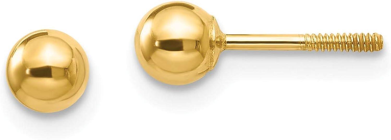 14k Madi K Polished 4mm Ball Screwback Earrings, 14k Yellow Gold