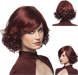 BOBIDYEE エアーエッグロール斜め前髪かつらを持つ女性のためのナシ短い巻き毛のかつら女性25cm / 220g(ワインレッド)のファッションかつら (色 : ワインレッド)