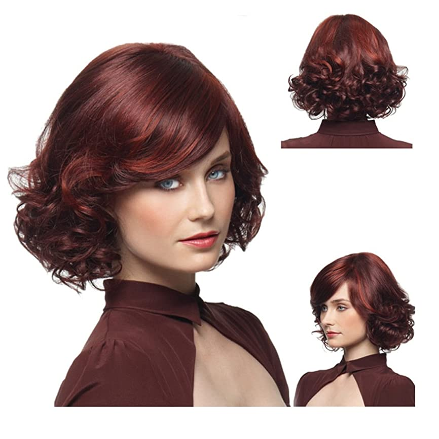 補助療法罪人Koloeplf 女性のための空気卵ロール斜めバンズウィッグ耐熱髪25cm / 220g(ワインレッド)女性のための短いショートカーリーウィッグ (Color : Wine red)