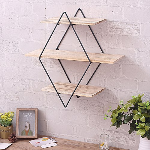 cheerfullus Iron Wall Shelves Brackets Art Wooden Wall Bookshelf Metal...