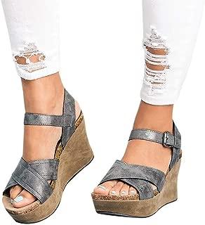 Realdo Women Plus Size Wedge Sandals with Platform Summer Fashion Buckle Strap Wedges Retro Peep Toe Shoes
