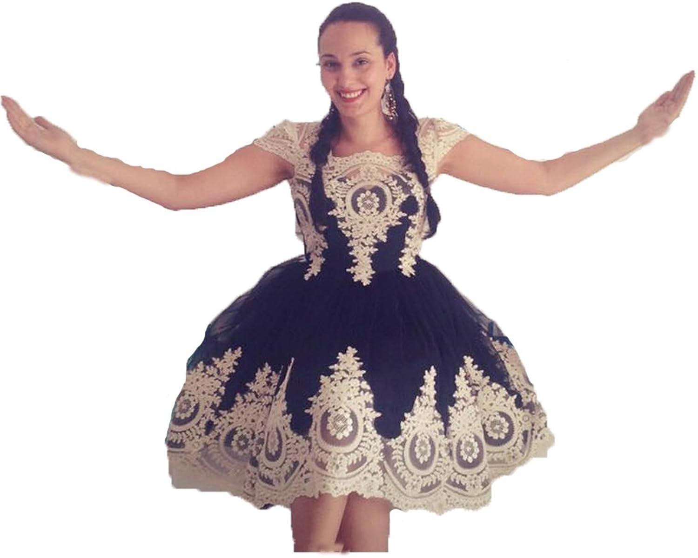 Ruiyuhong Women's Appliques Black Formal Gowns Cap Sleeve Short Prom Dress