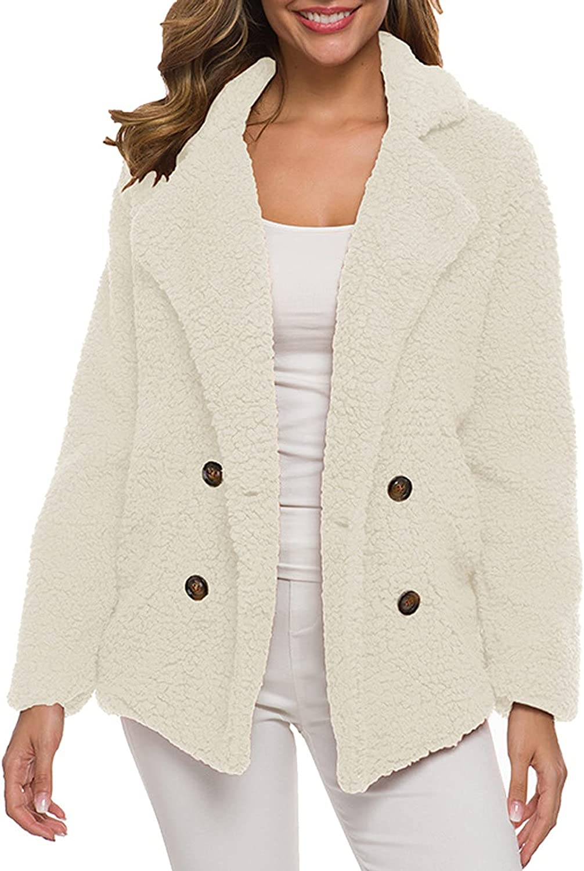 FlekmanArt Women's Winter Casual Teddy-Fleece Jacket Warm Padded Thickened Suit Collar Button Lambswool Jacket Cardigan