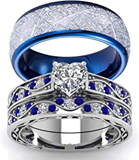 wedding ring set His Hers Couples Matching Rings Women's 10k White Gold Filled Heart CZ Wedding Engagement Ring Bridal Sets & Men's Tungsten Carbide Wedding Band
