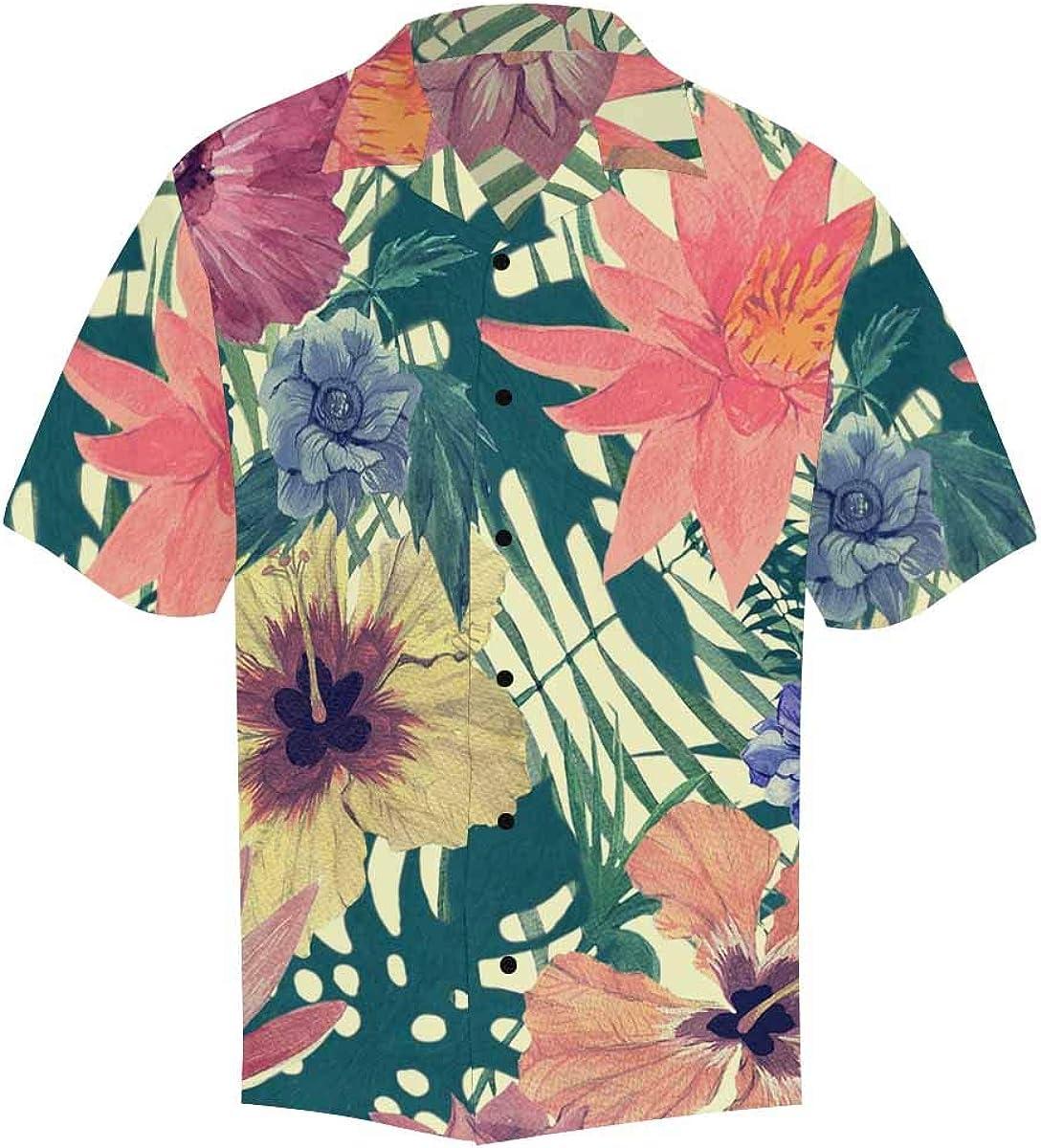 InterestPrint Men's Casual Button Down Short Sleeve Vintage Tropical Floral Hawaiian Shirt (S-5XL)