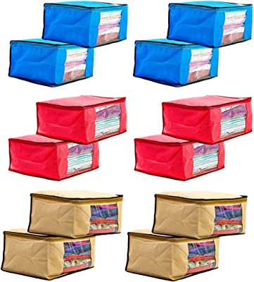 Amazon Brand - Solimo 12 Piece Non Woven Fabric Saree Cover Set with Transparent Window, Large, Pink, Blue and Beige