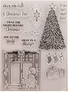 Merry Christmas Tree Decors Sentiments Phrase Stamps Rubber Clear Stamp/Seal Scrapbook/Photo Album Decorative Card Making ...
