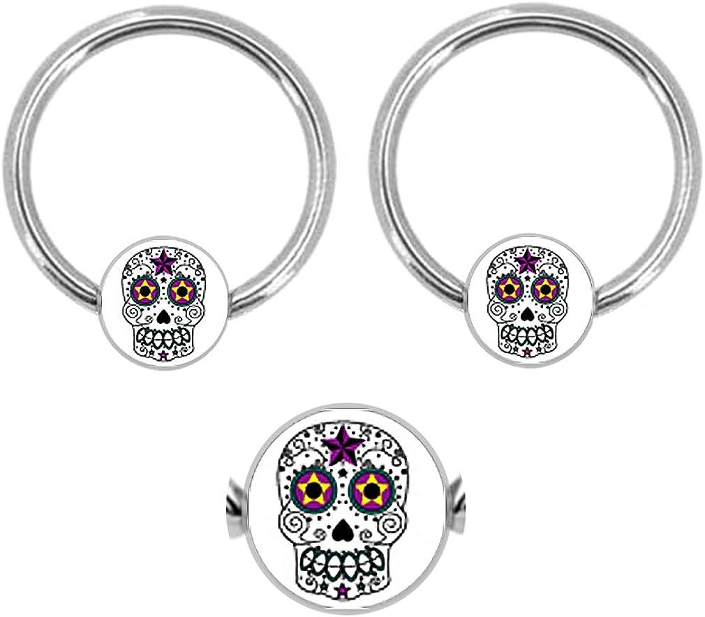 playful piercings Pair of Sugar Skull Star Captive Bead Ring Lip, Belly, Nipple, Cartilage, Tragus, Septum, Hoop 14g