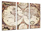 Cuardos Camara Poster Fotográfico Mapa Mundi Antiguo, Mapa Vintage Tamaño total: 97 x 62 cm XXL, Multicolor