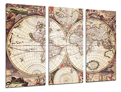 Cuadro Camara Fotográfico Mapa Mundi Antiguo, Mapa Vintage Tamaño total: 97 x 62 cm XXL, Multicolor