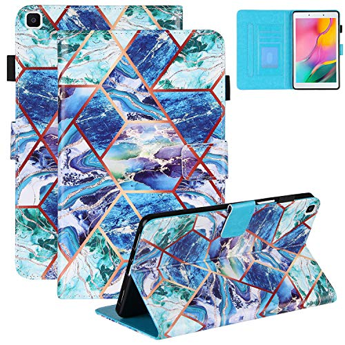 Coopts Galaxy Tab A8 SM-T290/SM-T295 2019 Case with Pen Holder, Grid Colorful Marble PU Leather Wallet Folio Flip Stand Case with Card Pocket for Samsung Galaxy Tab A8 2019 without S Pen, Blue Green