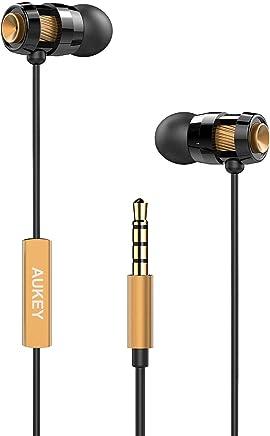 AUKEY Auricolare In Ear Stereo Universale, Cuffie Moving coil Headset con Microfono, Design avanzato per Enhanced Bass (Bassi Rafforzati) in Riduzione del rumore
