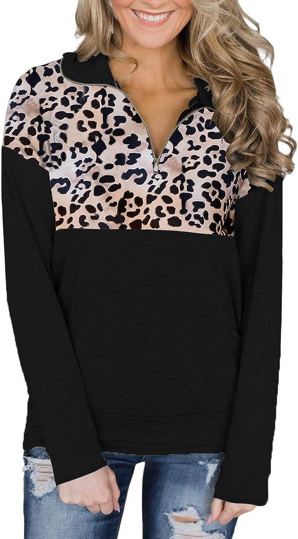 Actloe Women 1/4 Zip Floral Patchwork Pullover Long Sleeve Sweatshirt