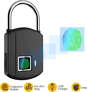 Fingerprint Padlock, IP65 Waterproof Smart Lock keyless Digital Lock, Travel Lock, USB Recharge Security Lock for School Locker, Gym, Backpack,Door, Cabinet, Suitcase, Indoor and Outdoor