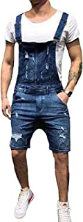 Gildnera Men's Denim Bib Overalls Workwear Fashion Slim Fit Ripped Jumpsuit Jeans with Pockets