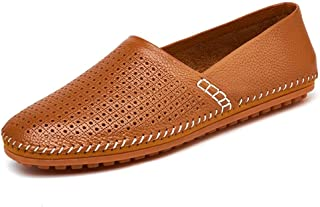 Skbiubiu Leisure Driving Loafers for Men Casual Flat Penny Shoes Slip-on Soft Genuine Leather Stitch Round Toe Perforated Non-Slip Lightweight` (Color : Brown, Size : 49 EU)