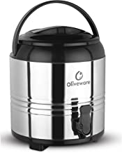 Oliveware Stainless Steel Insulated Water Jug - 6 litres   Hot & Cold Water Storage with Dispenser Tap   Stylish Leakproof Tap & Easy to Carry Handle