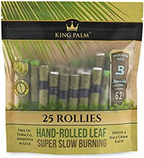 King Palm - Hand Rolled Palm Leaf Wrap Rolls - Rollies Size - 25 Rolls/Pouch - (1)