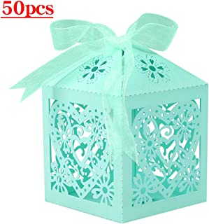Lucky Monet 25/50/100PCS Love Heart Laser Cut Wedding Candy Gift Box Chocolate Box for Wedding Favor Birthday Party Bridal Shower with Ribbon (50pcs, Tiffany Blue)