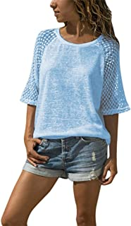 Summer T Shirt Women Top Lace Stitching O-Neck Cropped Sleeves Casual Tshirt Women Tops Tee Shirt Femme