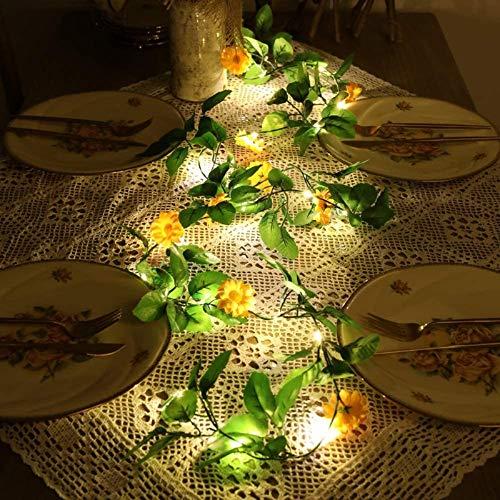 Guirnaldas artificiales de flor encendida, alimentadas por pilas, margarita, luz para Navidad, Halloween, fiesta, banquete, 2 m, 20 led.