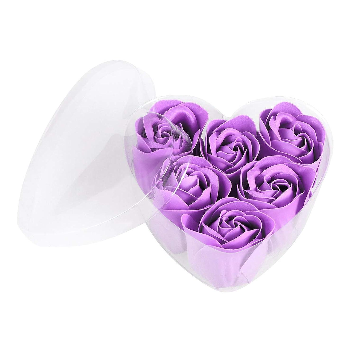 大西洋食べる忘れるBeaupretty 6本シミュレーションローズソープハート型フラワーソープギフトボックス結婚式の誕生日Valentin's Day(紫)