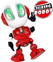 INLAIER Mini Talking Robot Toys Robots Toy for Kids, Boys, Girls Metal Talking Robot Kit Bright LED Toys Interactive Voice Changer Robot Travel Toys (Red)
