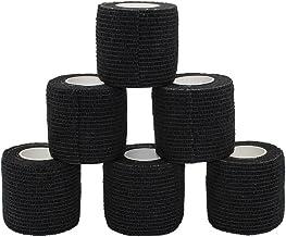 Juego de 6 rollos de cinta autoadhesiva para muñeca, tobillo, esguinces, rodillo de vendaje autoadhesivo, cinta atlética, color negro