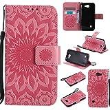 pinlu® PU Leder Tasche Etui Schutzhülle für LG K3 3G K100 (4,5 Zoll) Lederhülle Schale Flip Cover Tasche mit Standfunktion Sonnenblume Muster Hülle (Rosa)