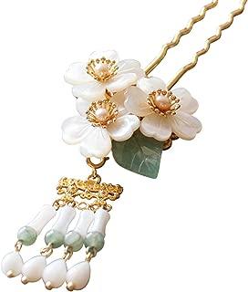 Original Handmade Brass Classical Hair Clasp Shell Pearl Decor Chinese Traditional Style Hair Sticks Shawl Pins Picks Hair Sticks, Hairpin (L : 15.00 cm) (15 cm) (15 cm)