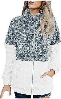 Women Long Sleeve Winter Casual Stitching Patchwork Zipper Plush Jacket Pocket Cardigan Outwear