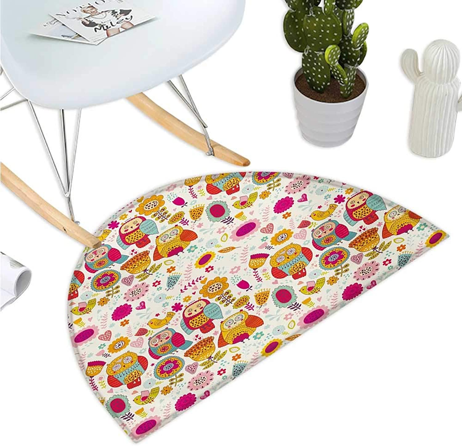 Owl Semicircular Cushion Sixties Inspired color Scheme Psychedelic Abstract Birds and Flowers Multicolord Image Entry Door Mat H 47.2  xD 70.8  Multicolor