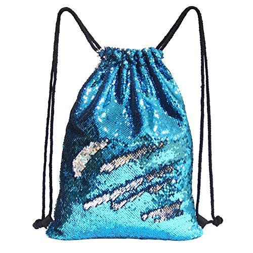 Basumee Wenden Pailletten Turnbeutel Rucksack Zweifarbig Glitzer Tunnelzug Tasche für Kinder und Erwachsene aus Polyester (Blau und Silber)