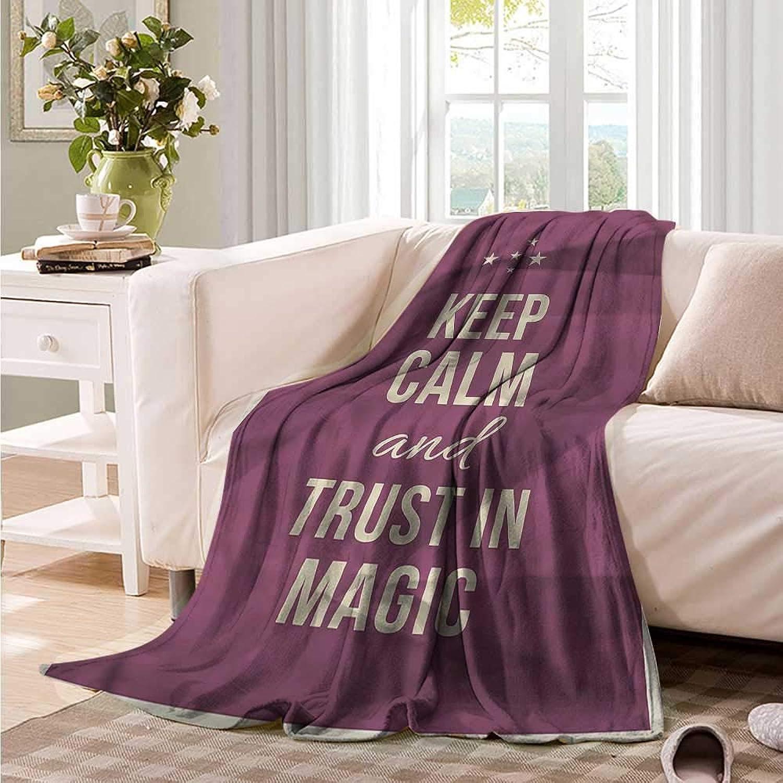 Baby Blanket Keep Calm Trust in Magic Purple Sofa Warm Bed 60  W x 51  L
