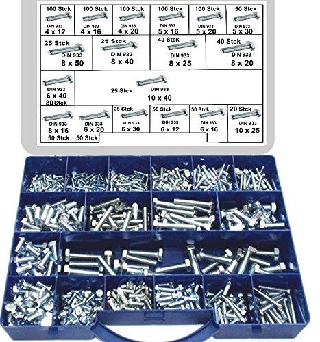 980 Stck Sechskantschrauben DIN 933, GKL. 8.8, verzinkt, Schrauben im Koffer, 4,0x12-10x40