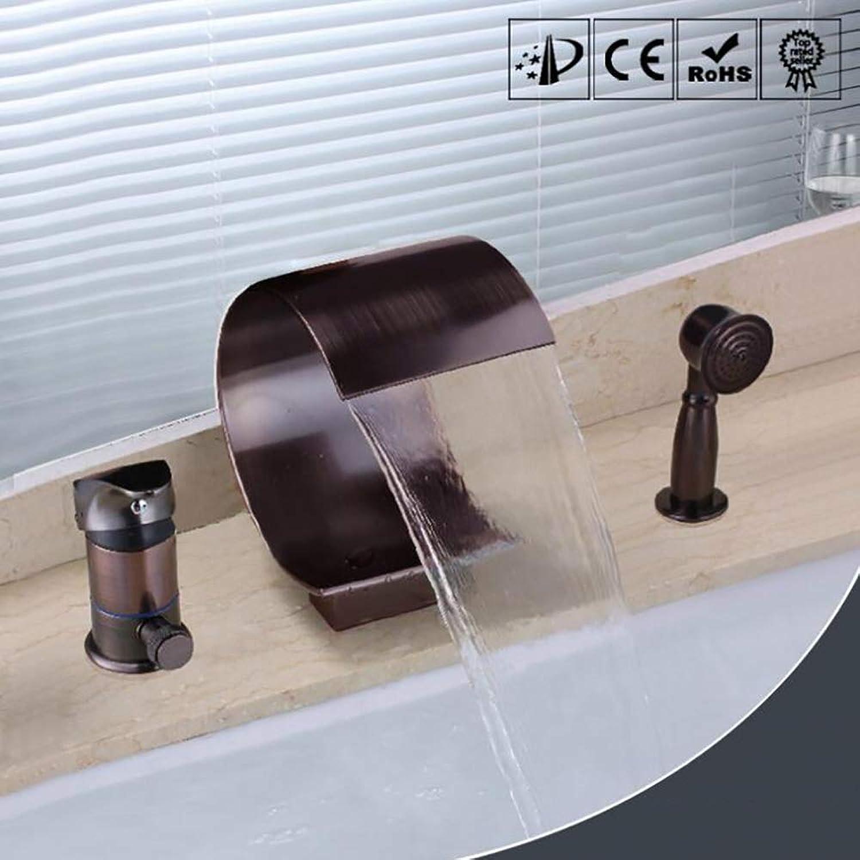 BILLY'S HOME Wannenwanne im europischen Stil, lrote Bronze-Badewanne Ausspout, 3 Lcher weit verbreitete Wasserfall-Badewanne Waschbecken mit Handdusche, mit Ventil und Trimm Set