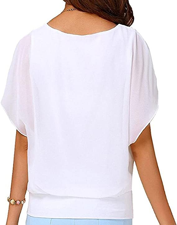 ALIKEEY Blusa De Manga Corta Gasa Casual para Mujer Camisa ChifóN Larga MurciéLago Boda Morado Blanco Mexicanas Fiestas Blanca Top Cortas Prime ...