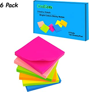 Sticky Notes 3x3, Self-Stick Notes 6 Bright Colorful Stickies, Strong Sticking Memo Pads, 6 Pads 100 Sheet/Pad, Easy to Post for Home, Office, School (3 x 3 inches)