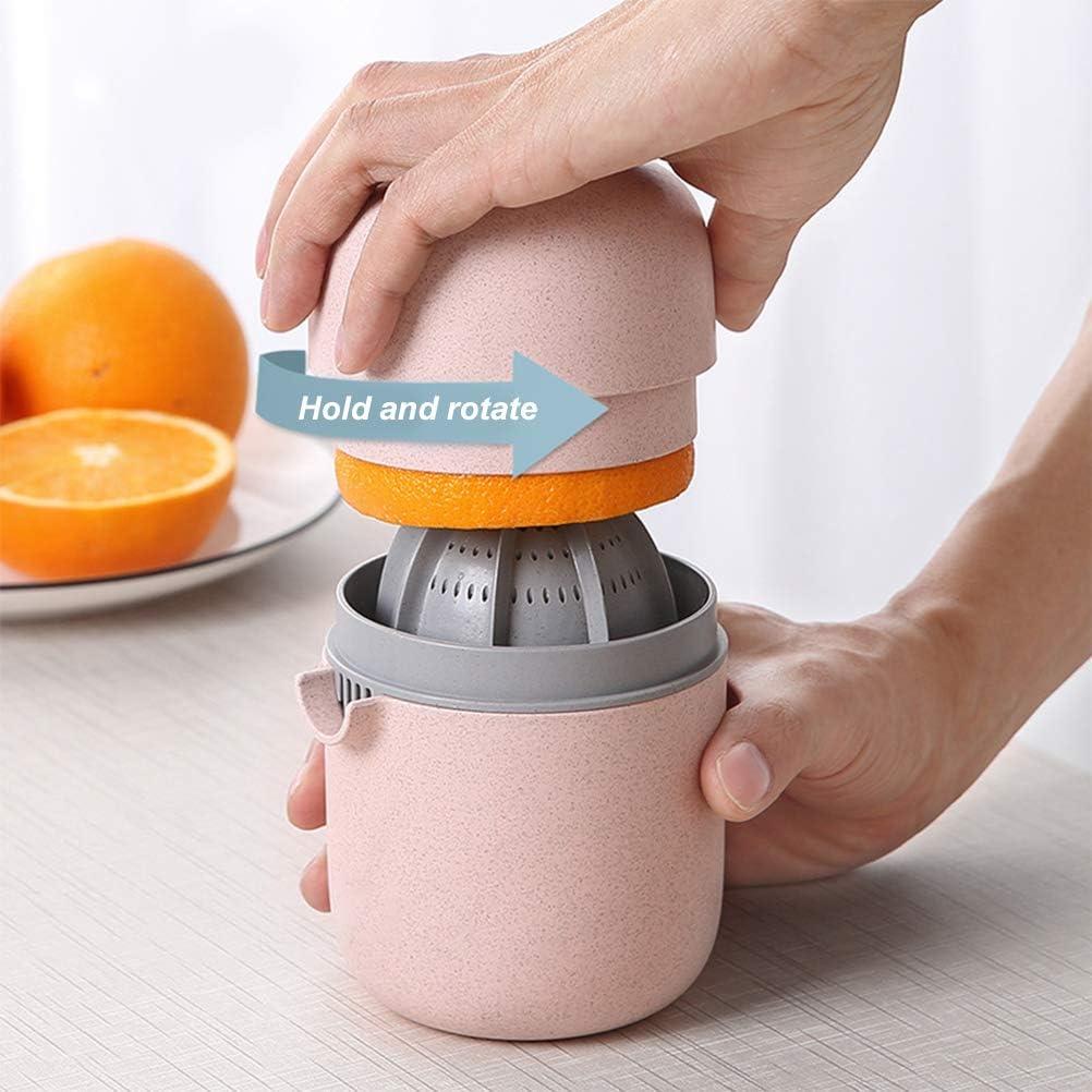 Exprimidor Manual Portátil, Mini Prensa Rotativa de Tapa Manual para Pomelo de Limón, con Colador y Recipiente Sin BPA Gris