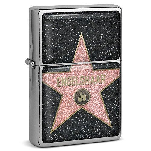 PhotoFancy® - Sturmfeuerzeug Set mit Namen Engelshaar - Feuerzeug mit Design Walk of Fame - Benzinfeuerzeug, Sturm-Feuerzeug
