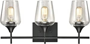 Farmhouse Bathroom Vanity Lights 3-Light Clear Glass Wall Sconces Matte Black Finish