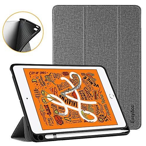 EasyAcc Hülle für iPad Mini 5 2019 mit Stifthalter - Ultra Dünn Soft TPU Rückseite Abdeckung Schutzhülle mit Auto Schlaf/Wach Funktion, Grau