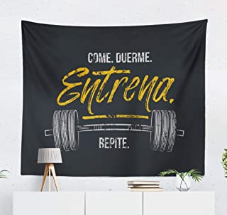 KJONG Decorative Tapestry,Eat Sleep Train Repeat Spanish Gym Motivational Quote with Grunge and Workout Decorative Tapestry, 50X60 Inches Wall Hanging Tapestry for Bedroom Living Room